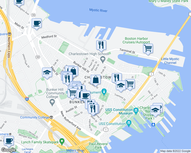 map of restaurants, bars, coffee shops, grocery stores, and more near 198 Bunker Hill Street in Boston