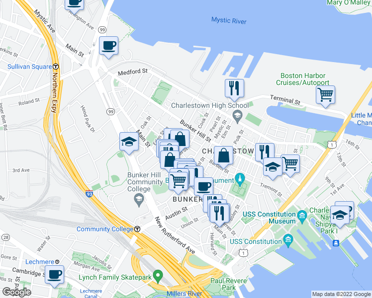 map of restaurants, bars, coffee shops, grocery stores, and more near 52 Sullivan Street in Boston