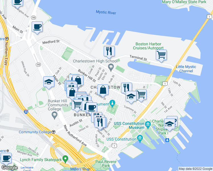 map of restaurants, bars, coffee shops, grocery stores, and more near 195 Bunker Hill Street in Boston