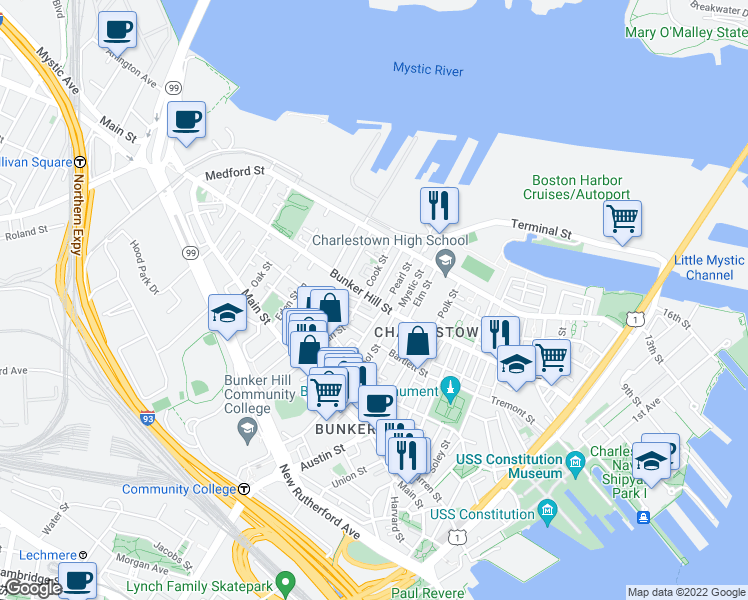 map of restaurants, bars, coffee shops, grocery stores, and more near Bunker Hill Street in Boston