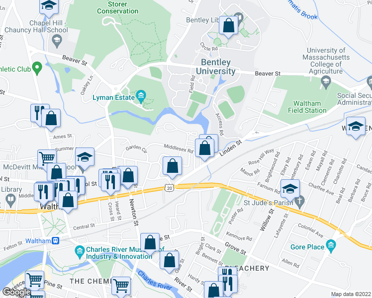 map of restaurants, bars, coffee shops, grocery stores, and more near 58 Middlesex Road in Waltham