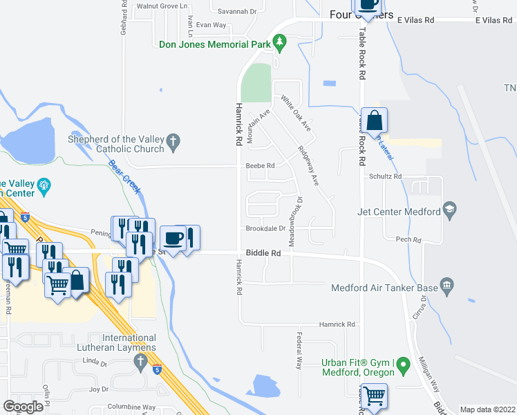 map of restaurants, bars, coffee shops, grocery stores, and more near 2535 Mistletoe Court in Central Point