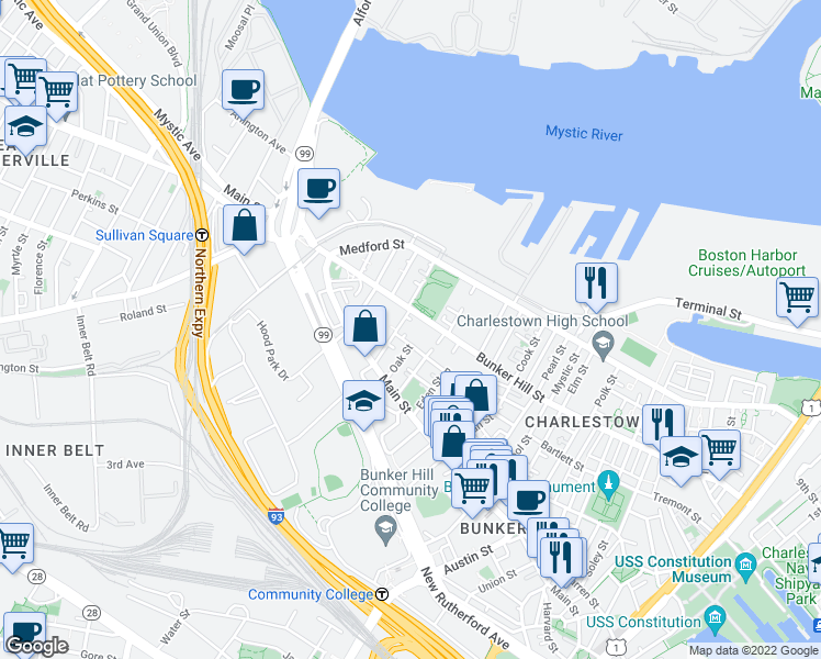 map of restaurants, bars, coffee shops, grocery stores, and more near 1X Avery Street in Boston