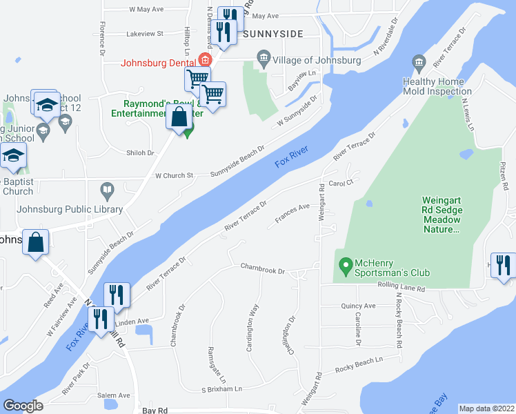 map of restaurants, bars, coffee shops, grocery stores, and more near 1516 River Terrace Drive in Johnsburg