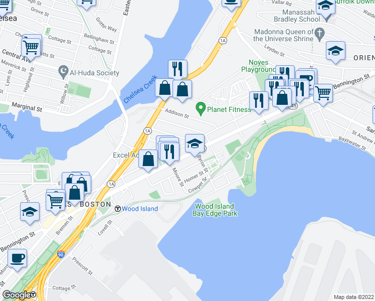 map of restaurants, bars, coffee shops, grocery stores, and more near 610 Bennington Street in Boston