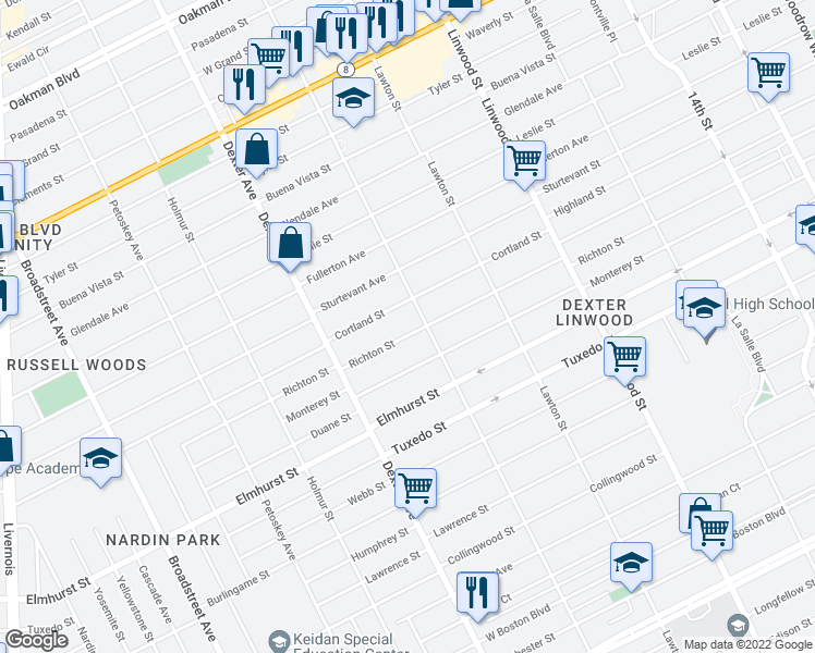 map of restaurants, bars, coffee shops, grocery stores, and more near 3230 Richton Street in Detroit