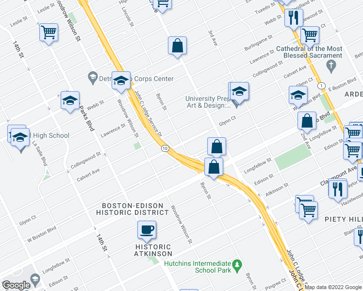 map of restaurants, bars, coffee shops, grocery stores, and more near 1251 Glynn Court in Detroit