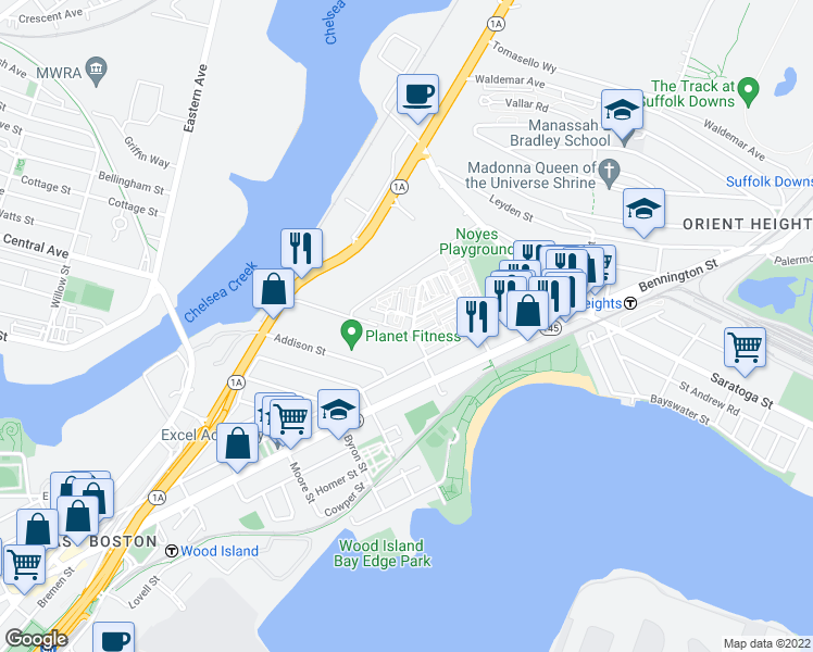 map of restaurants, bars, coffee shops, grocery stores, and more near 88 Brandywyne Drive in Boston