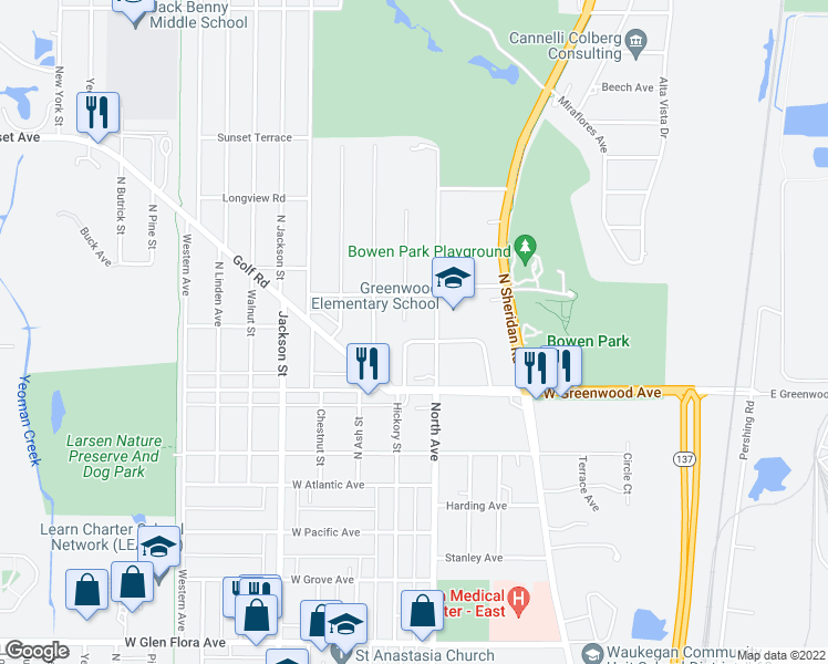 map of restaurants, bars, coffee shops, grocery stores, and more near 444 Glendenning Place in Waukegan