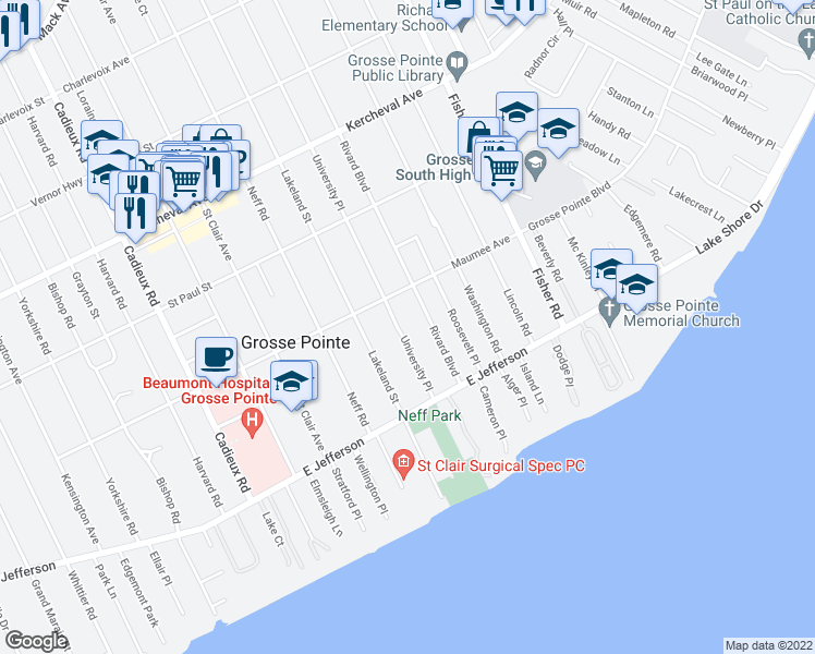 map of restaurants, bars, coffee shops, grocery stores, and more near 306 Roosevelt Place in Grosse Pointe