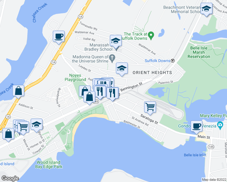 map of restaurants, bars, coffee shops, grocery stores, and more near 1030 Bennington Street in Boston
