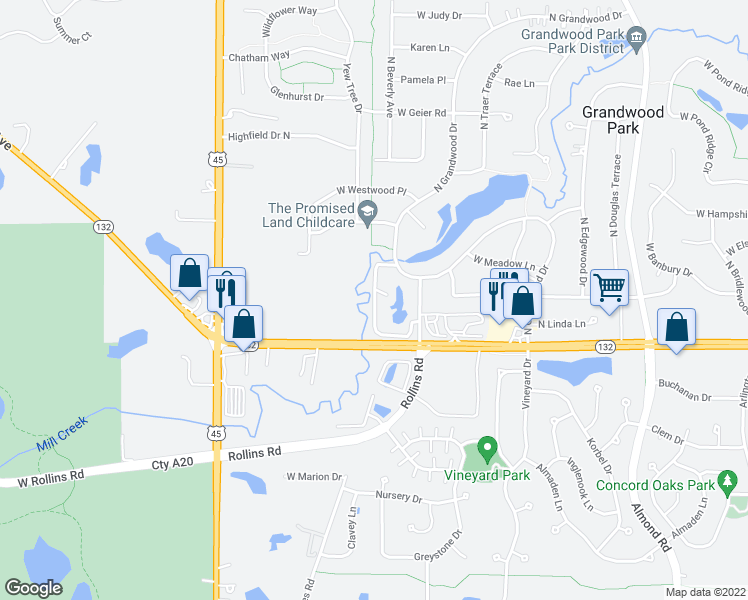 map of restaurants, bars, coffee shops, grocery stores, and more near North Grand Oaks Court in Gurnee