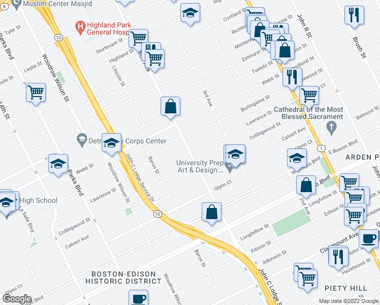 map of restaurants, bars, coffee shops, grocery stores, and more near Lawrence Street in Detroit