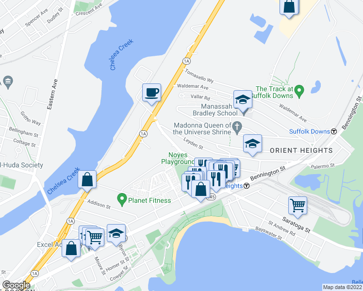 map of restaurants, bars, coffee shops, grocery stores, and more near 93 Boardman Street in Boston