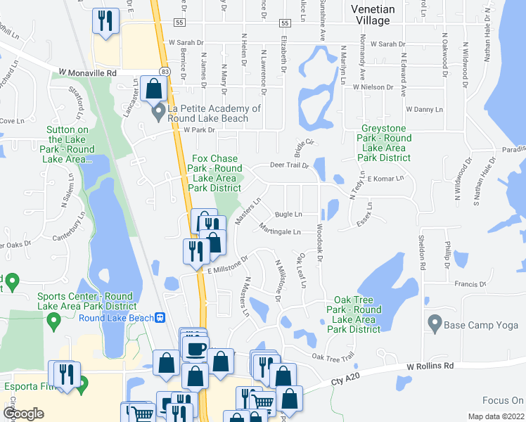 map of restaurants, bars, coffee shops, grocery stores, and more near 959 Saddle Lane in Round Lake Beach