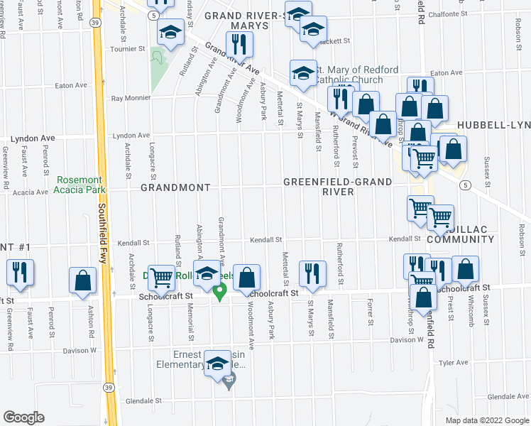 map of restaurants, bars, coffee shops, grocery stores, and more near Asbury Park in Detroit