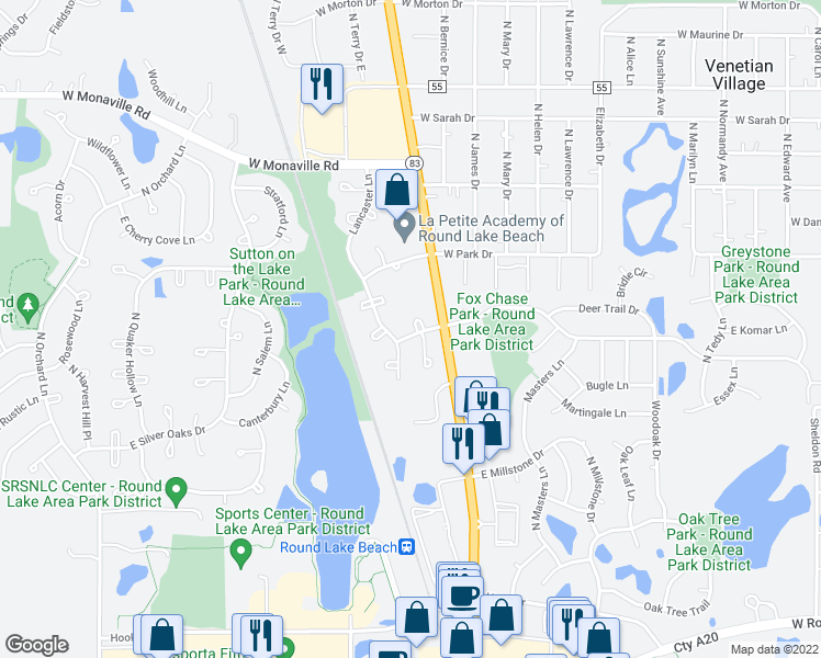 map of restaurants, bars, coffee shops, grocery stores, and more near 2386 Lenox Court in Round Lake Beach