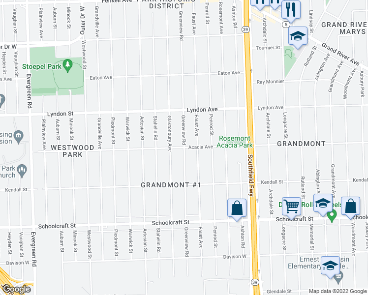 map of restaurants, bars, coffee shops, grocery stores, and more near Greenview Road in Detroit