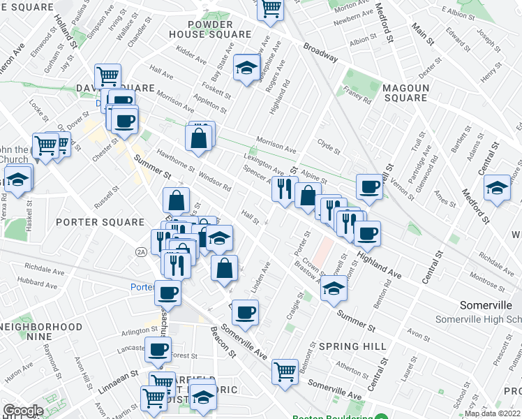 map of restaurants, bars, coffee shops, grocery stores, and more near Aberdeen Road in Somerville
