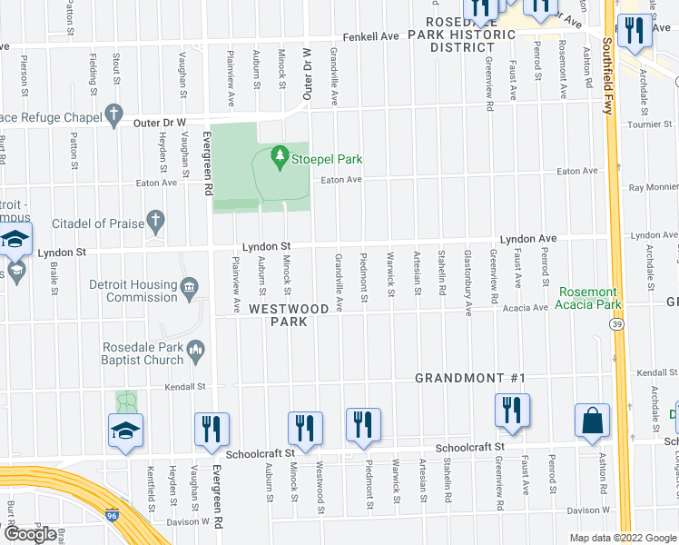 map of restaurants, bars, coffee shops, grocery stores, and more near 14424 Grandville Avenue in Detroit