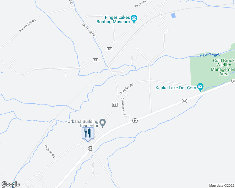 map of restaurants, bars, coffee shops, grocery stores, and more near 8029 Pleasant Valley Road in Hammondsport