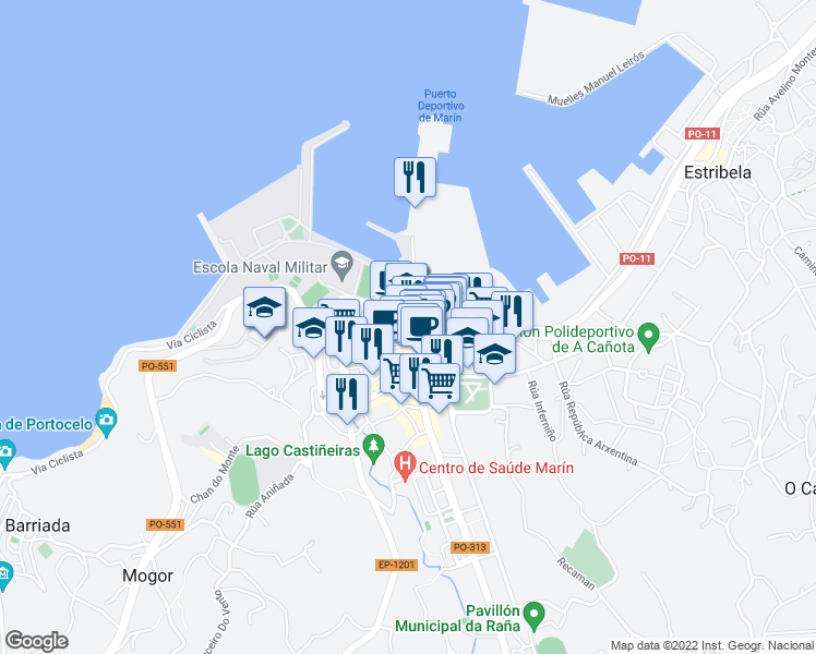 map of restaurants, bars, coffee shops, grocery stores, and more near 18 PO-313 in Marín