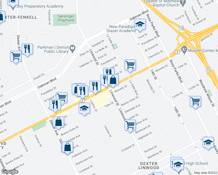 map of restaurants, bars, coffee shops, grocery stores, and more near W Davison St & Linwood St in Detroit