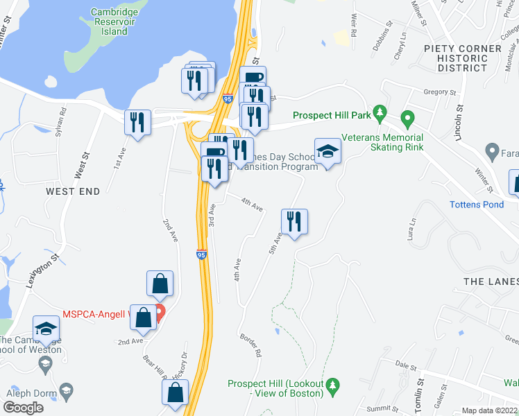 map of restaurants, bars, coffee shops, grocery stores, and more near 103 4th Avenue in Waltham