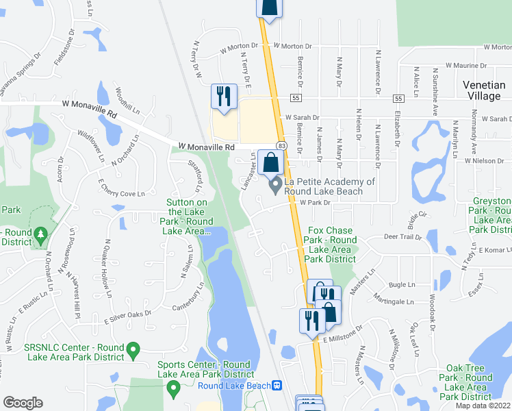 map of restaurants, bars, coffee shops, grocery stores, and more near 2496 North Pennwood Court in Round Lake Beach