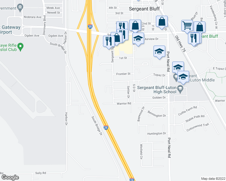 map of restaurants, bars, coffee shops, grocery stores, and more near 349 Sergeant Square Drive in Sergeant Bluff