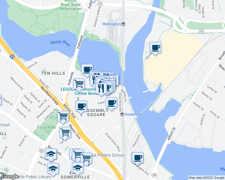 map of restaurants, bars, coffee shops, grocery stores, and more near 478 Artisan Way in Somerville