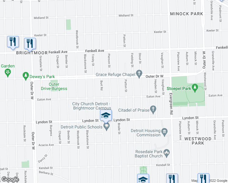 map of restaurants, bars, coffee shops, grocery stores, and more near 14822 Pierson Street in Detroit