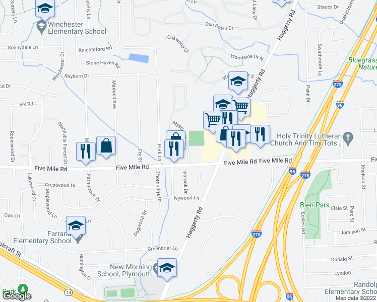 map of restaurants, bars, coffee shops, grocery stores, and more near 15311 Mystic Cir in Wayne