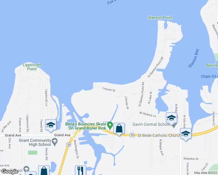 map of restaurants, bars, coffee shops, grocery stores, and more near 26528 West Ingleside Shore Road in Ingleside