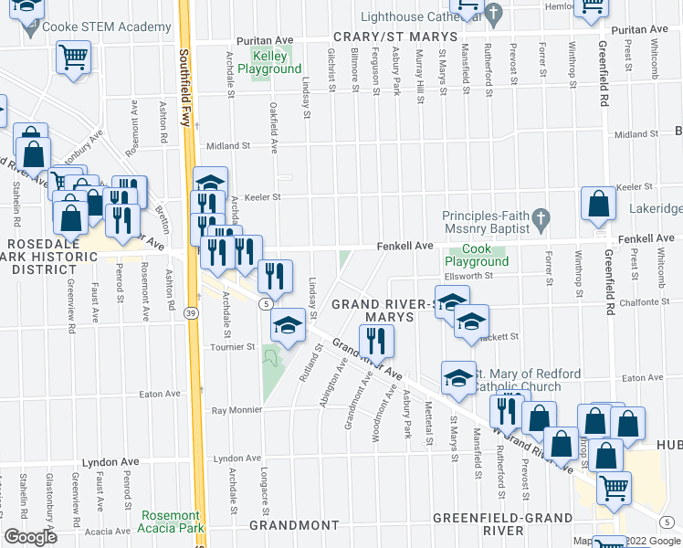 map of restaurants, bars, coffee shops, grocery stores, and more near 15030 Biltmore in Detroit
