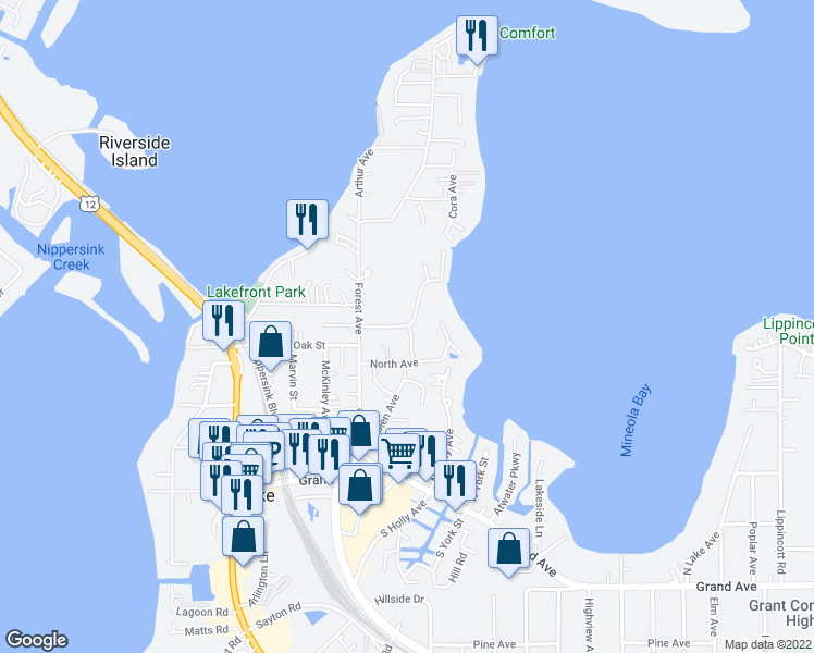 map of restaurants, bars, coffee shops, grocery stores, and more near 91 Cora Avenue in Fox Lake