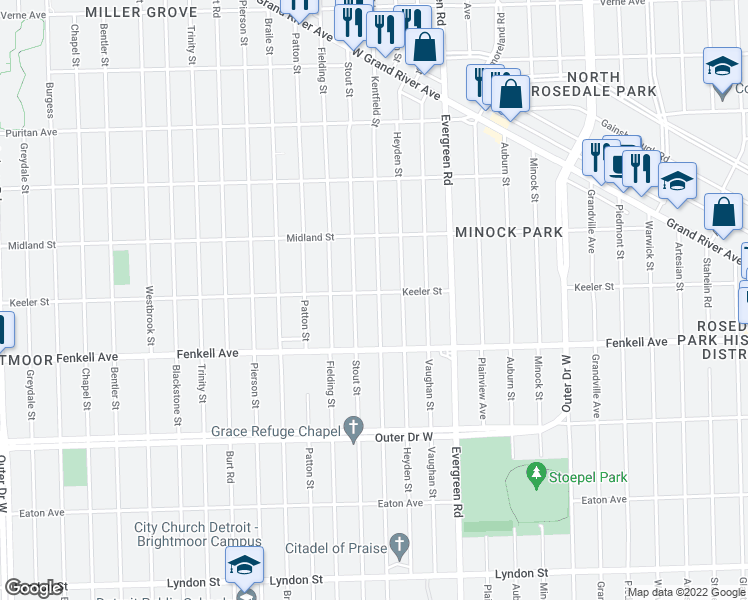 map of restaurants, bars, coffee shops, grocery stores, and more near 15373 Kentfield Street in Detroit