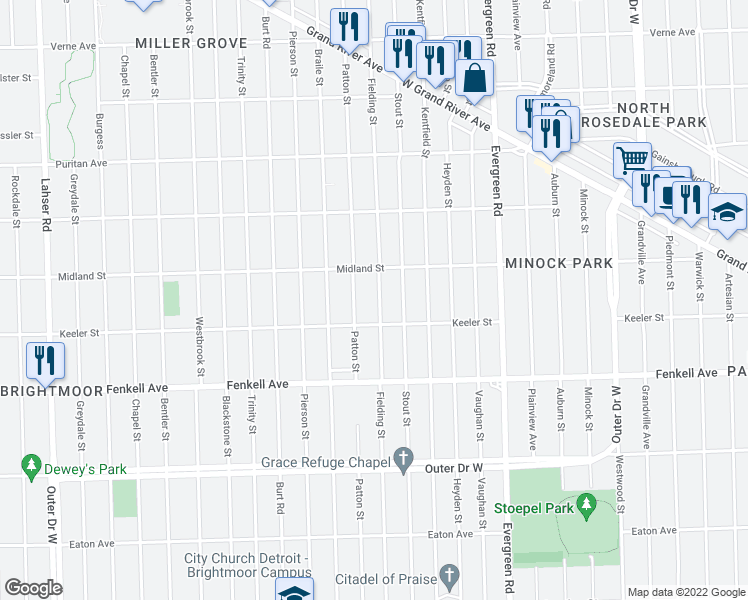 map of restaurants, bars, coffee shops, grocery stores, and more near 15453 Fielding Street in Detroit