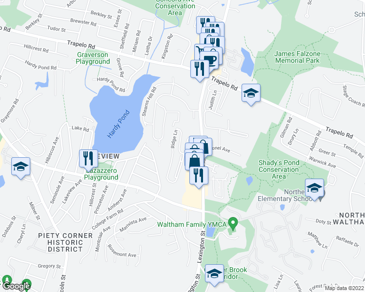 map of restaurants, bars, coffee shops, grocery stores, and more near 55 Ridge Lane in Waltham