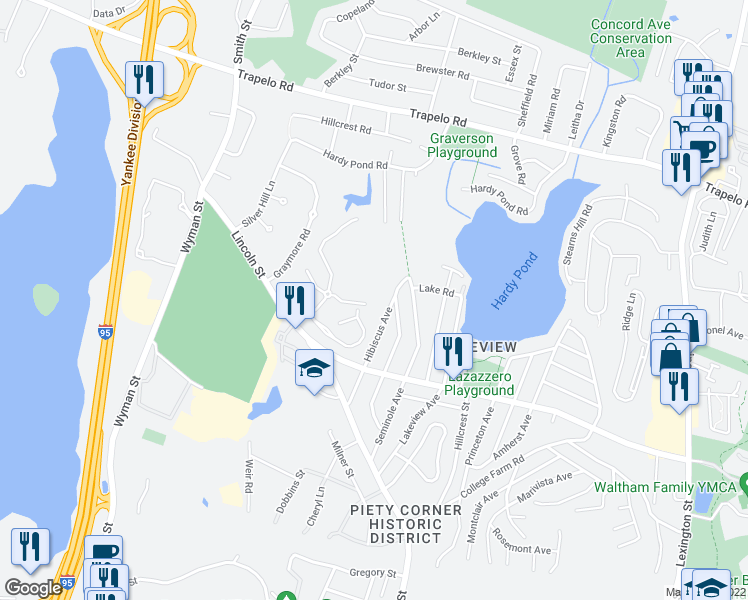 map of restaurants, bars, coffee shops, grocery stores, and more near 45 Kings Way in Waltham