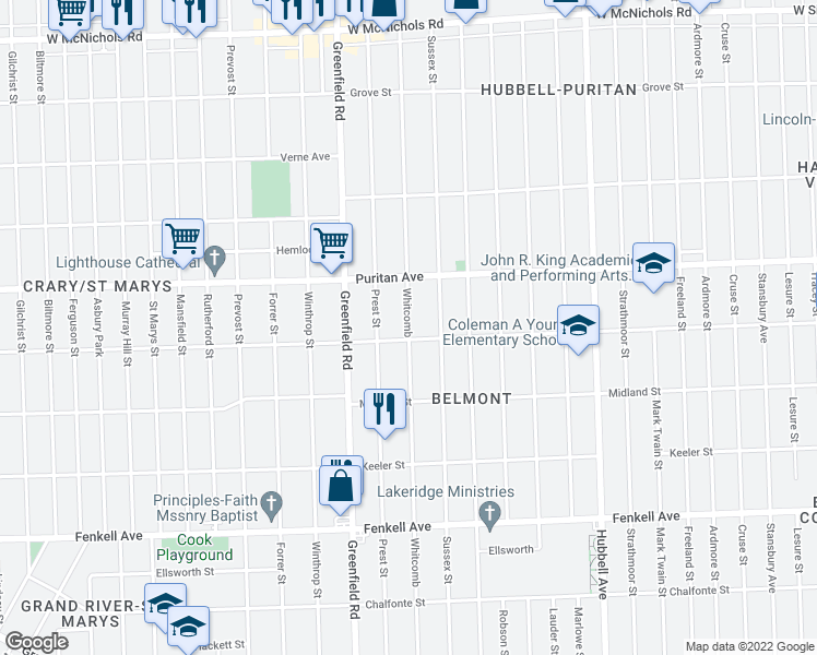 map of restaurants, bars, coffee shops, grocery stores, and more near 15868 Whitcomb Avenue in Detroit