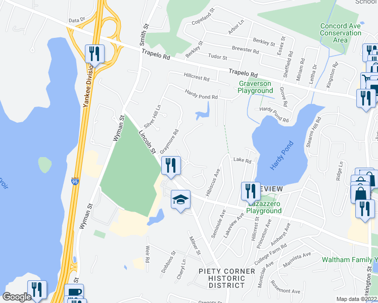 map of restaurants, bars, coffee shops, grocery stores, and more near Kings Way in Waltham