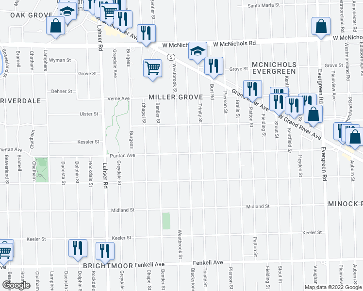 map of restaurants, bars, coffee shops, grocery stores, and more near 16124 Westbrook Street in Detroit