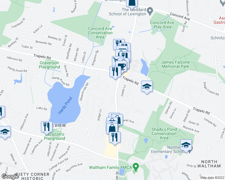 map of restaurants, bars, coffee shops, grocery stores, and more near 976 Lexington Street in Waltham