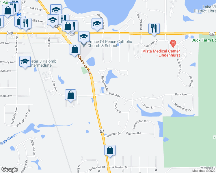 map of restaurants, bars, coffee shops, grocery stores, and more near 331 Berkshire Dr in Lake Villa