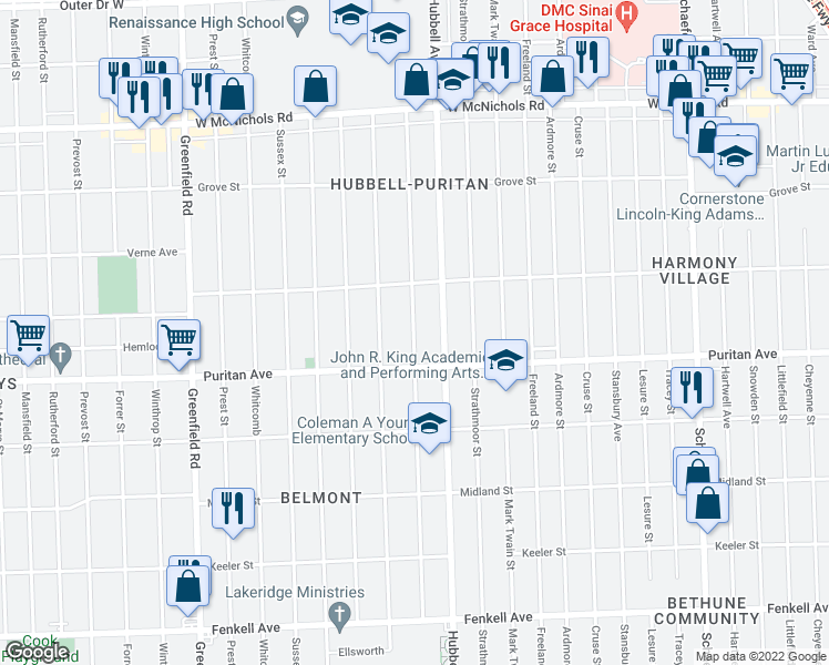 map of restaurants, bars, coffee shops, grocery stores, and more near 16126 Marlowe Street in Detroit