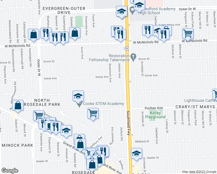 map of restaurants, bars, coffee shops, grocery stores, and more near 16541 Rosemont Avenue in Detroit