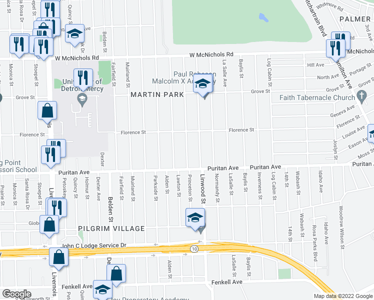 map of restaurants, bars, coffee shops, grocery stores, and more near Princeton St in Detroit