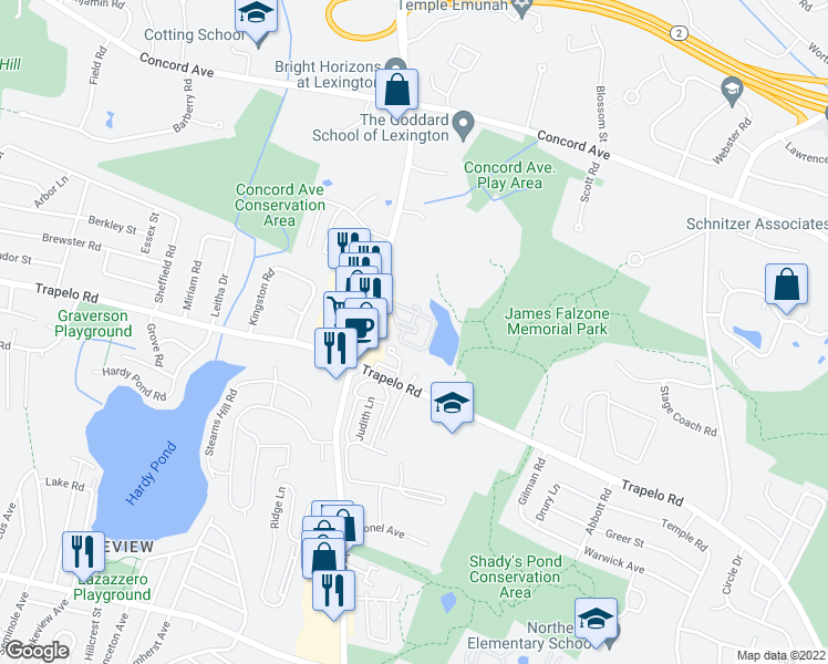 map of restaurants, bars, coffee shops, grocery stores, and more near 1105 Lexington Street in Waltham