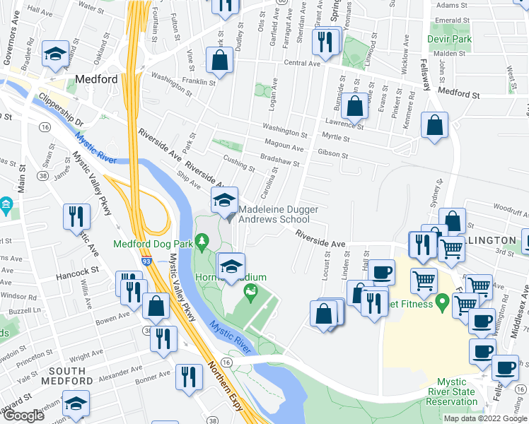 map of restaurants, bars, coffee shops, grocery stores, and more near Riverside Avenue in Medford